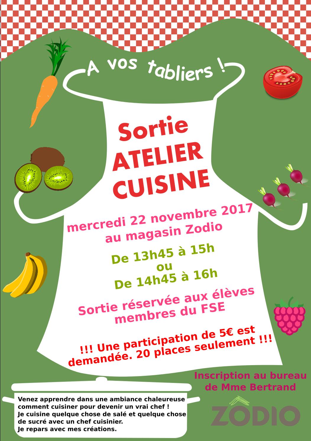 Fse Sortie Atelier Cuisine Mercredi 22 Novembre Au Magasin Zodio